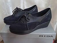 Женские туфли на невысокой танкетке МИДА 21570 (428) черные., фото 1