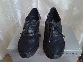 Женские туфли на невысокой танкетке МИДА 21570 (428) черные., фото 2