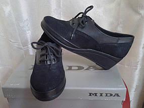Женские туфли на невысокой танкетке МИДА 21570 (428) черные., фото 3