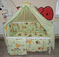 Комплект постельного белья для новорожденного салатовое Зайчик  Bonna 9 в 1