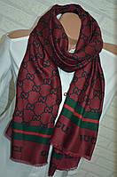 Женский бордовый палантин платок Gucci модный аксессуар