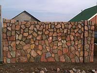 Забор из гранитного камня двухсторонняя расшивка, Киев (Боярка)
