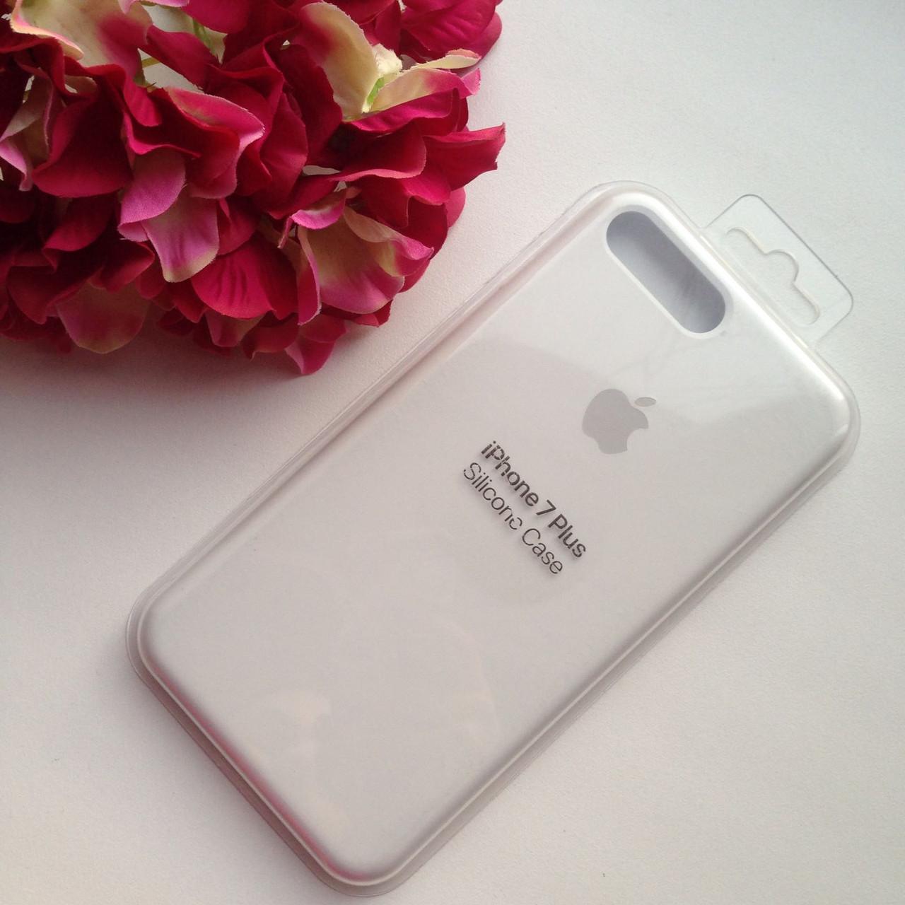 Оригинальный силиконовый белый чехол для iPhone 7 plus