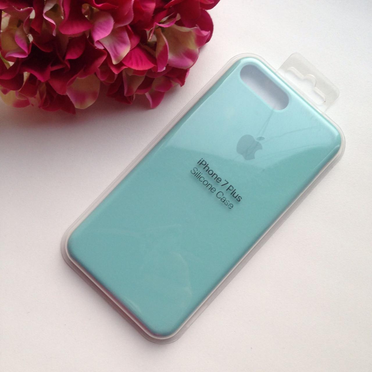Оригинальный силиконовый мятный чехол для iPhone 7 plus