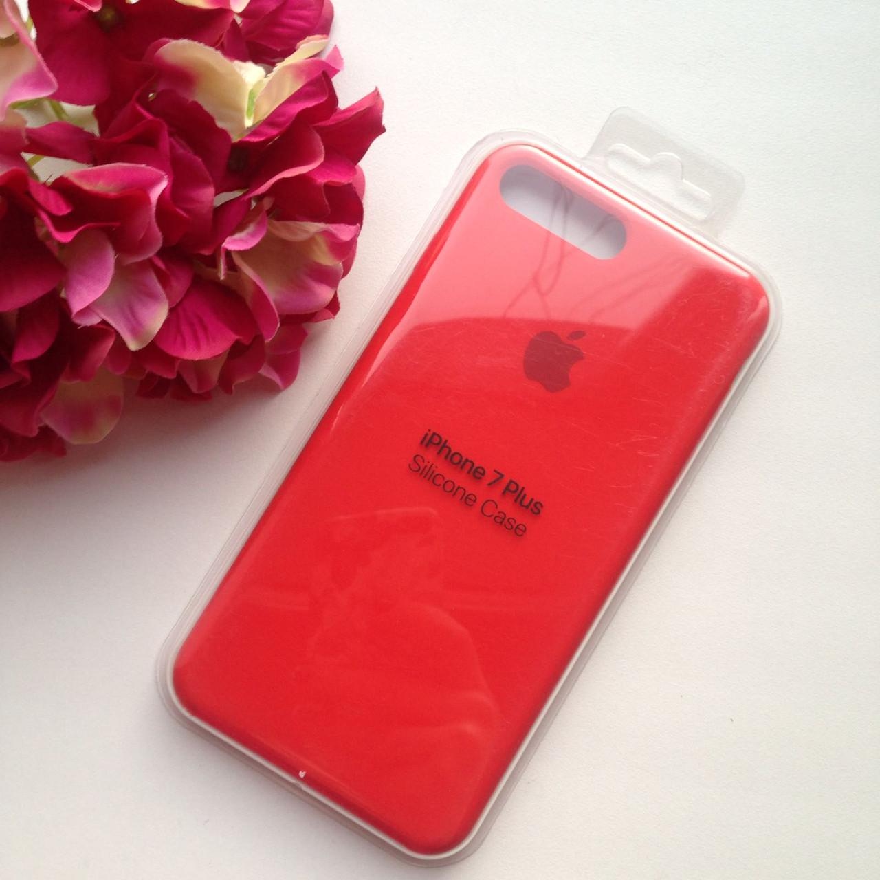 Оригинальный силиконовый красный чехол для iPhone 7 plus