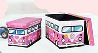 """Пуф - Короб складной """"Love bus"""" , ящик для игрушек"""
