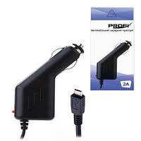 Автомобильная зарядка MiniUSB 12V 1,0м (GPS, Навигаторы, Регистраторы)  2000mA PROFI