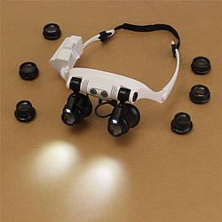 Очки увеличительные бинокулярные (лупа), LED подсветка, сменные линзы.