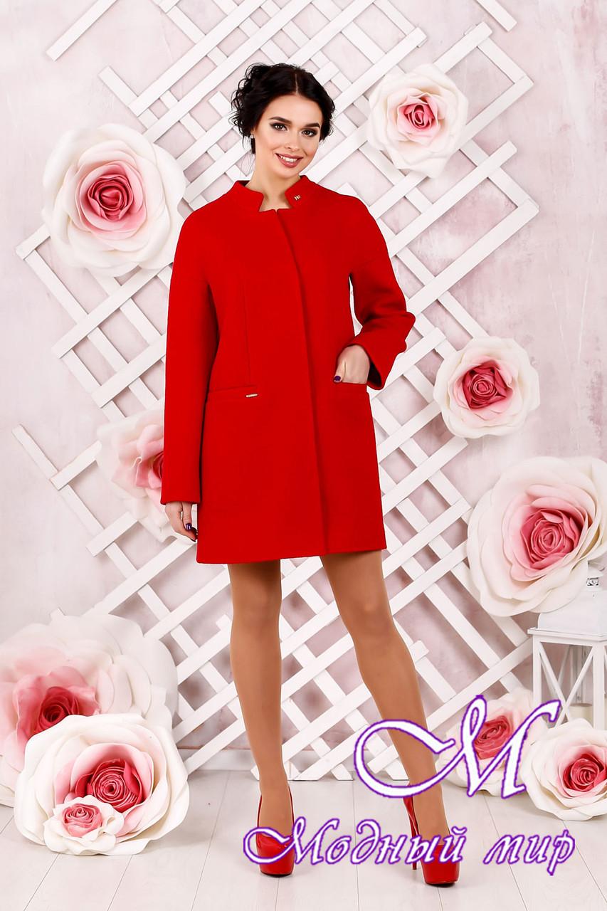 Элегантное женское демисезонное красное пальто батал (р. 44-62) арт. 997 Тон 49