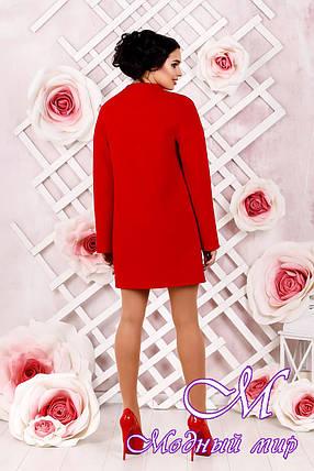 Элегантное женское демисезонное красное пальто батал (р. 44-62) арт. 997 Тон 49, фото 2