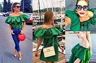 Женское сатиновое платье с воланами+ пояс, 5 цветов
