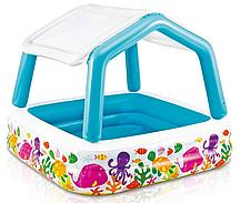 Надувной бассейн с навесом Аквариум 157х157х122см, Intex 57470