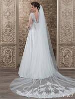 Очаровательная свадебная фата, украшенная по низу гипюром вышитым бисером и жемчугом