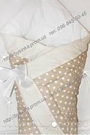 """Одеяло-конверт на выписку на липучке с красивым бантом (осень, зима, весна), 90х90- """"Горох-зигзаг"""""""