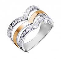 Кольцо серебряное с золотом и цирконием Медичи