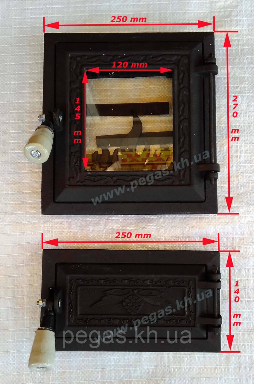 Дверки чугунные с жаростойким стеклом (топочная + зольная)
