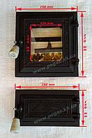 Дверки чугунные с жаростойким стеклом (топочная + зольная), фото 1