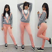 Женский красивый костюм: свитшот трехцветный и брюки (2 цвета)