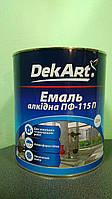 """Эмаль алкидная ПФ-115 темно-зеленая глянцевая 2.8 кг ТМ """"DekArt"""""""