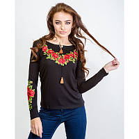 Женская блузка из хлопка вышиванка  больших размеров  ПОЛЬСЬКА ТРОЯНДА  в размерах  44, 46, 48, 50, 52,  54
