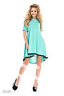 Мятное  платье-трапеция с кружевом
