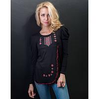 Женская блузка из хлопка вышиванка  больших размеров ЧЕРВОНИЙ ОРНАМЕНТ в размерах  44, 46, 48, 50