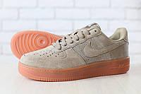Мужские кроссовки, песочного цвета, из натуральной замши, на шнурках, на толстой подошве