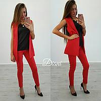 Женский красивый костюм: жилет с подкладкой и зауженные брюки (4 цвета)