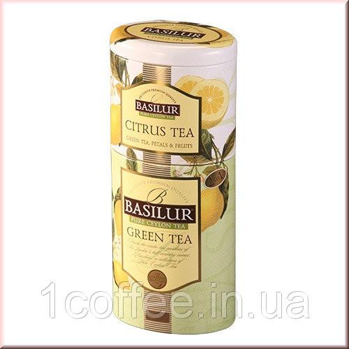 Зеленый чай Basilur + цитрус ж\б Цветы и Фрукты Цейлона 125гр