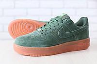 Мужские кроссовки, зеленые, из натуральной замши, на шнурках, на толстой подошве