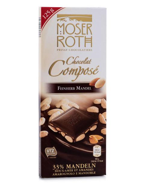 Черный шоколад Moser Roth Chocolat Compose Mandeln с миндалем, 125 гр.