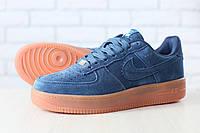 Мужские кроссовки, синие, из натуральной замши, на шнурках, на толстой подошве