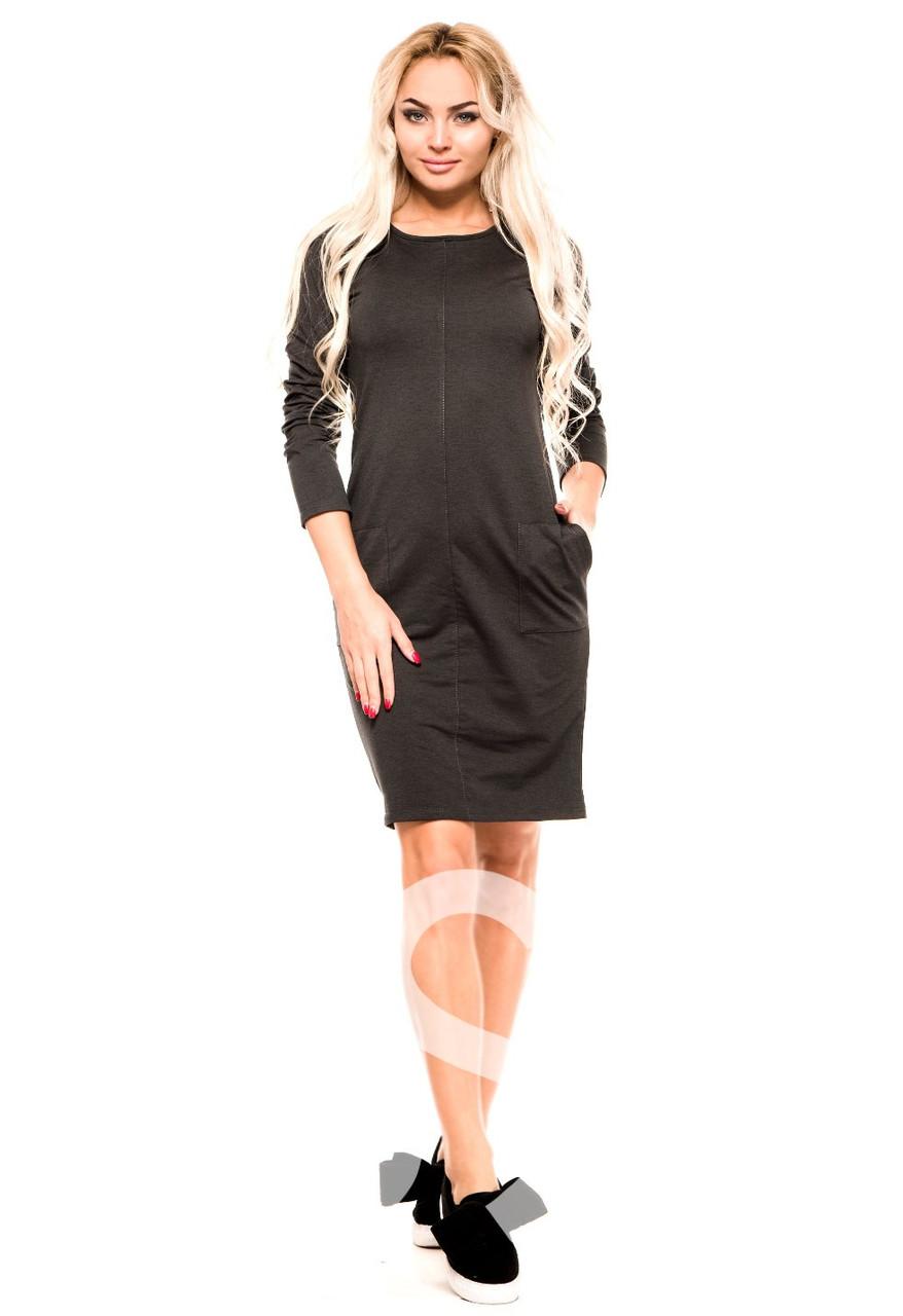 Темно-серое повседневное платье до колен из трикотажной двунити