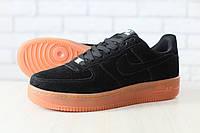 Мужские кроссовки, черные, из натуральной замши, на шнурках, на толстой подошве