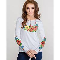 Женская блузка из хлопка вышиванка  больших размеров МАЛЬВИ в размерах  44, 46, 48, 50, 52, 54