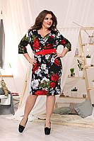 Женское трикотажное платье расцветка красные розы  с поясом, фото 1