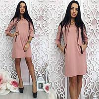 Женское  свободное короткое платье+карманы