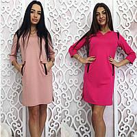 Женское  свободное короткое платье+карманы темно-синий, m