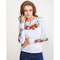 Женская блузка из хлопка вышиванка  больших размеров ПОЛЬОВІ КВІТИ в размерах  44, 46, 48, 50, 52, 54