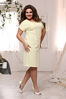 Стильное женское однотонное летнее платье лимонного цвета, фото 1