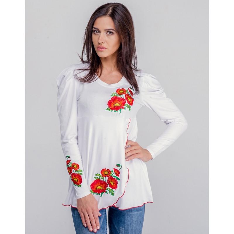 dc935a23a39 Женская блузка из хлопка вышиванка туника МАКИ больших размеров в размерах  44