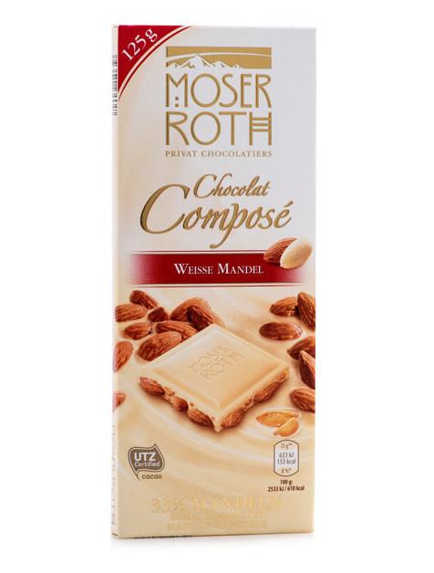 Белый шоколад Moser Roth Chocolat Compose Weisse Mandel с миндалем, 125 гр.