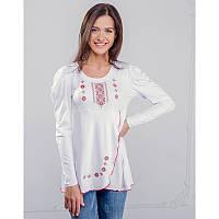 Женская блузка из хлопка вышиванка ЧЕРВОНИЙ ОРНАМЕНТ больших размеров  в размерах  44, 46, 48, 50, 52
