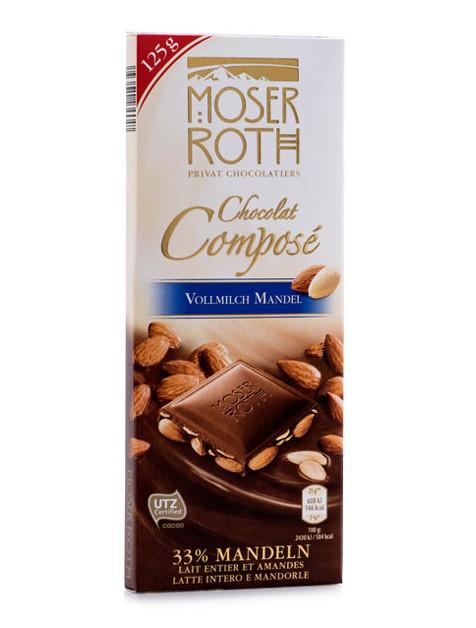 Молочный шоколад Moser Roth Chocolat Compose Wollmilch Mandel с миндалем, 125 гр.