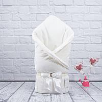 """Весенний конверт-одеяло """"Чудо"""" молочный велюровый"""