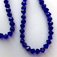 "Хрустальная бусина, ""кристал"", синяя, 6 мм"