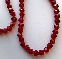 """Хрустальная бусина, """"кристал"""", красная, 6 мм"""