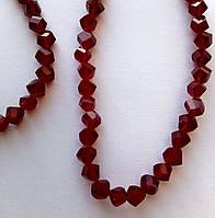 """Хрустальная бусина, """"кристал"""", темно красная, 6 мм"""