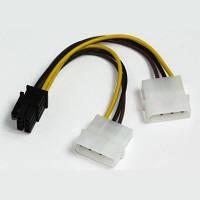Кабель питания для видеокарт PCI-E 6pin 2xMolex 0.2 м