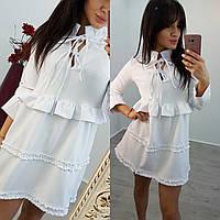 Женское стильное платье с рюшами (4 цвета)